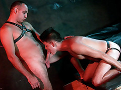 Strapped in a cute bundle twink marionette gets used orally
